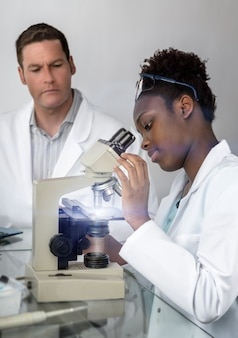 Scientists, male and female, work in research facility