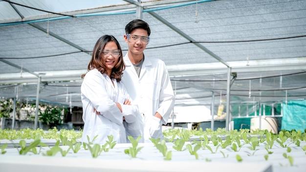 과학자들은 야채 유기농 샐러드와 상추를 재배하는 농부의 수경 농장에 서 있습니다