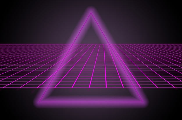 Scifi black background behind purple triangle in the middle of an illustration futuristic