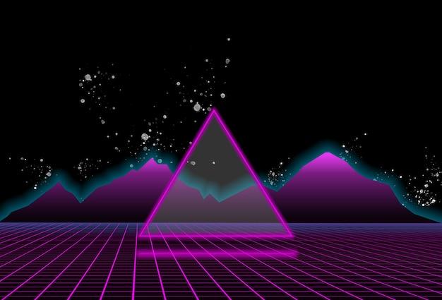 보라색 산과 삼각형 뒤에 공상 과학 검은 별이 빛나는 하늘 배경