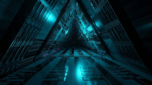 Scifi fantasy space tunnel corridor and abstract 3d illustration wallpaper background