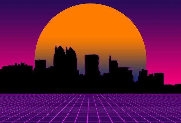 Scifi purple background orange sunset behind black city landscape futuristic illustration