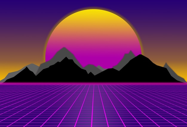 Scifi purple background with sunset behind black and gray mountains futuristic illustration