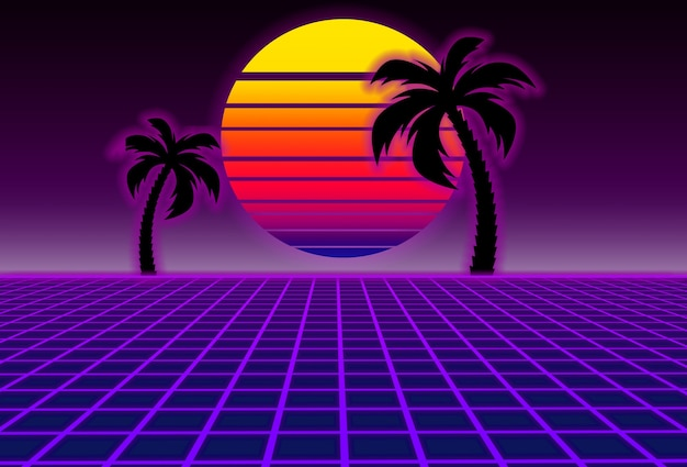 Scifi purple background with sunset and palms futuristic illustration
