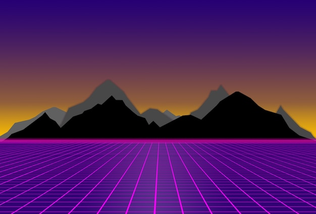 Scifi purple background with with black and gray mountains futuristic illustration