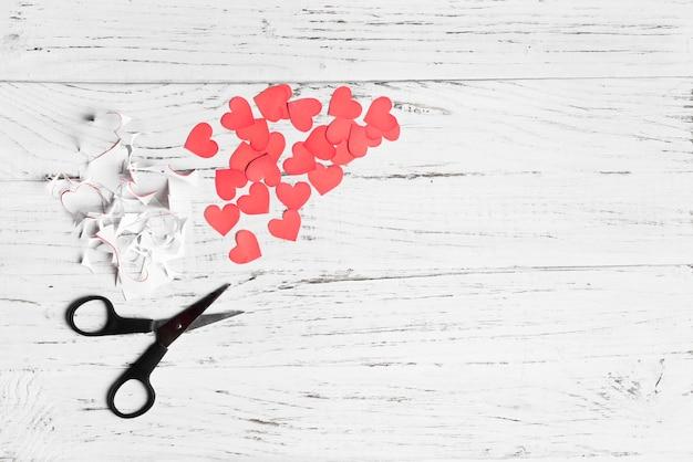 Scissors and cut hearts