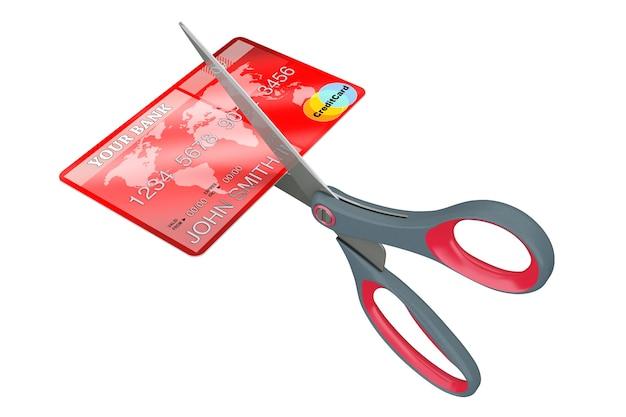 흰색 바탕에 신용 카드 절단가 위. 3d 렌더링.
