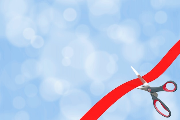 Scissors cutting red ribbon with blank space for your design in front of blue absctract background. 3d rendering