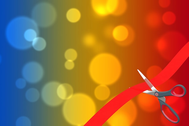 Scissors cutting red ribbon with blank space for your design in front of multicolor absctract background. 3d rendering