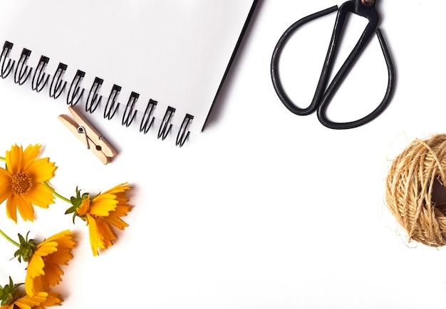 Ножницы, блокнот, желтые цветы изолированные