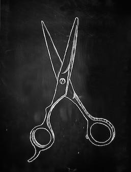 Scissors sketch on blackboard