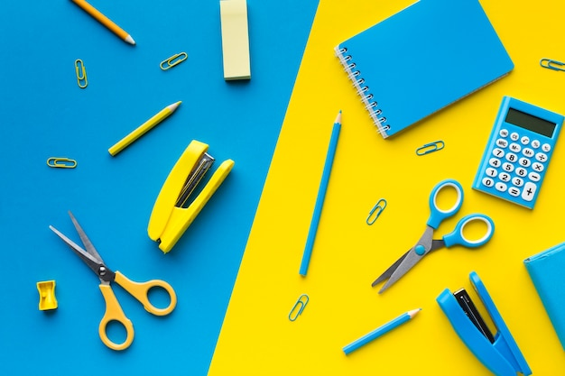 Scissors and staplers flat lay