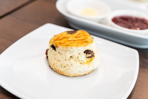 Scone with butter and jam