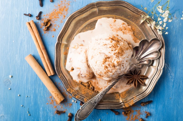 Scoop of homemade ice cream with cinnamon
