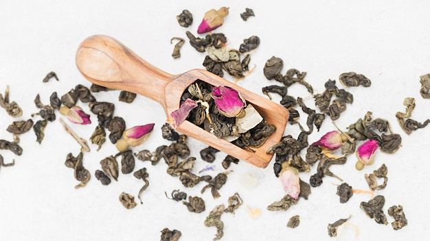 Scoop with herbs for tea