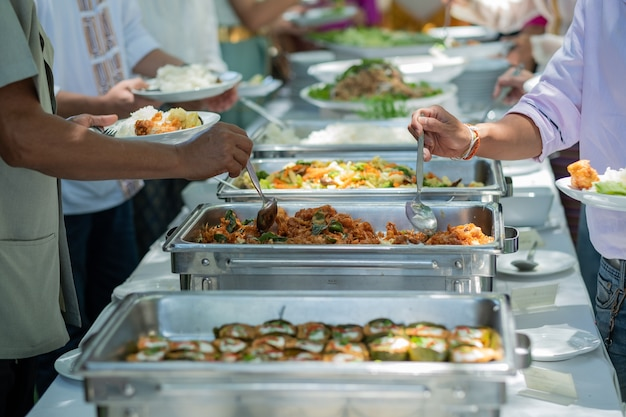 Scooping the food, catering
