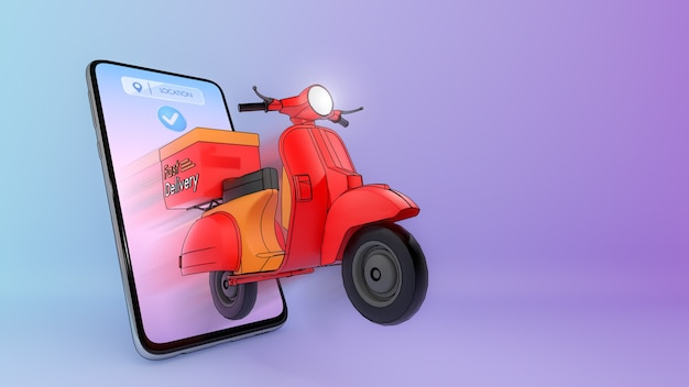 Scooter of ejected from a mobile phone.,concept of fast delivery service and shopping online.