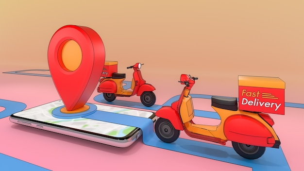 Scooter of ejected from a mobile phone,online mobile application order transportation service,concept of fast delivery service and shopping online