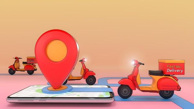휴대 전화에서 꺼낸 스쿠터. 온라인 모바일 어플리케이션 주문 운송 서비스입니다. 빠른 배송 서비스 및 온라인 쇼핑의 개념.