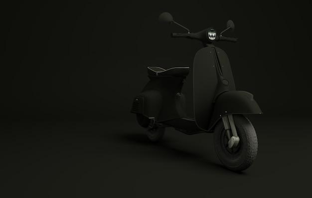 Самокат на черном. 3d визуализация