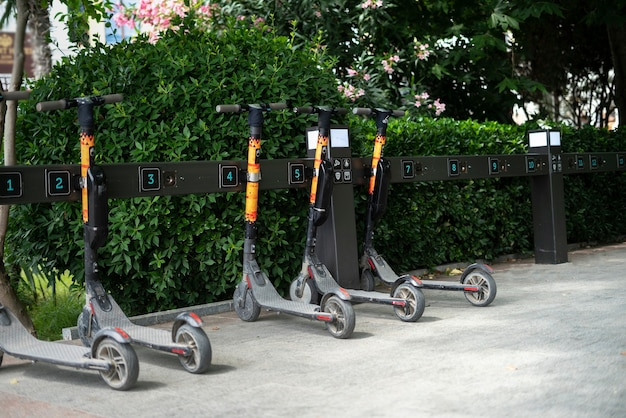 A scooter rental in the city street, alternative transport vehicle