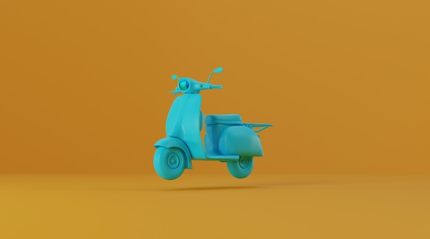 Scooter on yellow background.