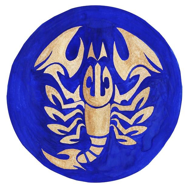 Scorpio zodiac symbol watercolor illustrationthe zodiac icon astrology raster image scorpio
