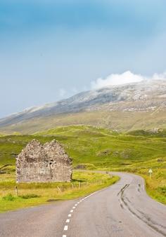 Шотландия, сазерленд. перспектива дороги, полезная концепция поездки