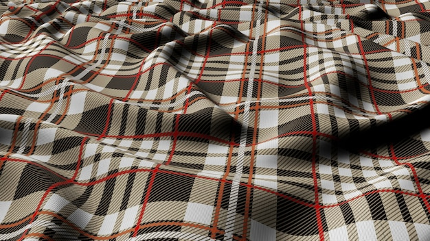 Scottish plaid grey white with red and white checkered classic tartan check seamless fabric 3d rendered.