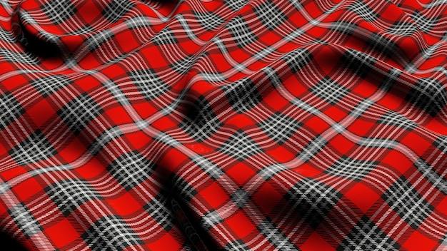 스코틀랜드 격자 무늬 빨간색 회색과 흰색 체크 무늬 클래식 타탄 체크 원활한 패브릭 3d 렌더링.