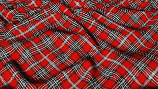 Scottish plaid red gray and white checkered classic tartan check seamless fabric 3d rendered.