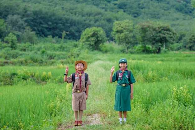 Scout asian students wearing uniforms