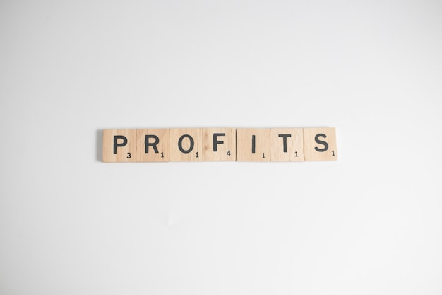 Scrabble letters spelling profits, business concept