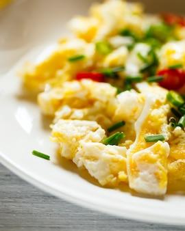 Scrambled eggs close up view
