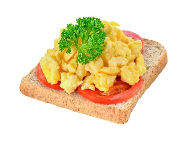 パセリトマトとパンのスクランブルエッグ