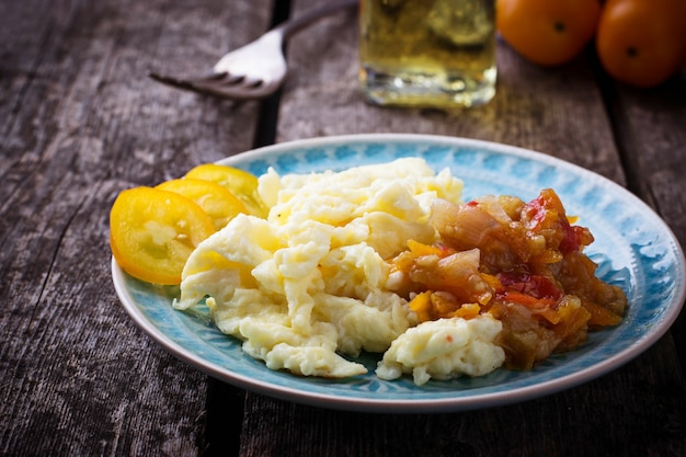 Scrambled eggs with vegetable. selective focus