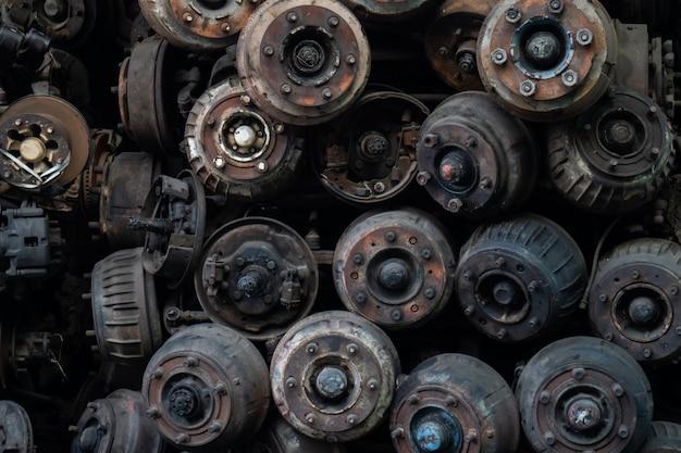 Scrap metal the old car parts, car wheel parts. sold in the auto parts market.