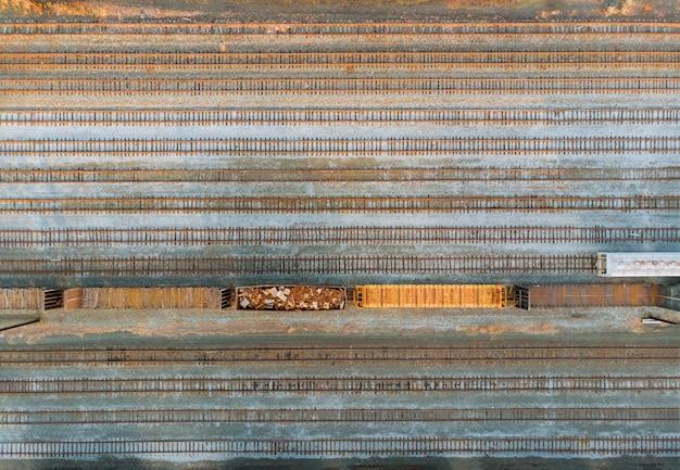 Scrap processing industrial work for scrap metal railway wagons