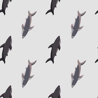 간단한 스타일의 상어 실루엣으로 스크랩북 해양 원활한 패턴입니다. 회색 배경입니다. 현대 동물원 인쇄.