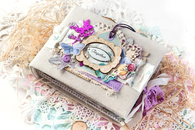 Scrapbooking handmade photo album.