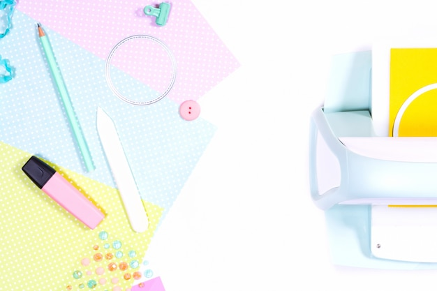 Scrapbooking hobby workplace materials paper dies cutting