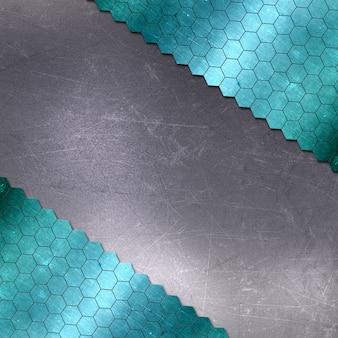六角形パターンと傷の金属の背景