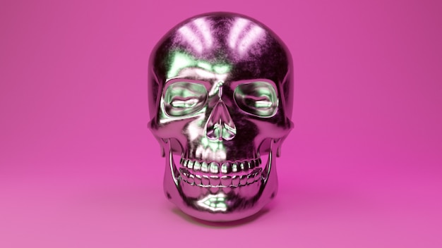 A scratched metal human skull glamorous pink background