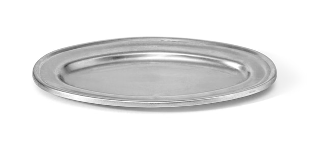 Scratched round metal plate isolated on white with clipping path
