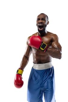 悲鳴を上げる。白いスタジオの背景に分離されたプロのアフリカ系アメリカ人ボクサーの面白い、明るい感情。ゲームの興奮、人間の感情、顔の表情、スポーツコンセプトへの情熱。