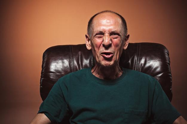 The screaming mature or senior man