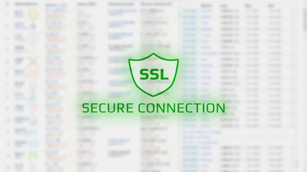 Screen concept with secure connections. green text and shield icon with the letters ssl. light blurred background with numbers. horizontal.