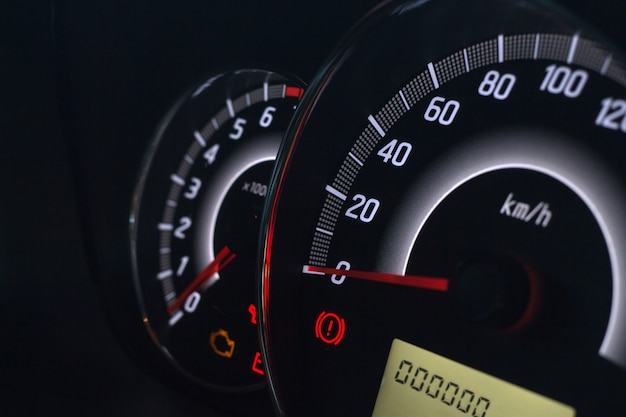 Screen display of car status warning light on dashboard panel symbols which show the fault indicators