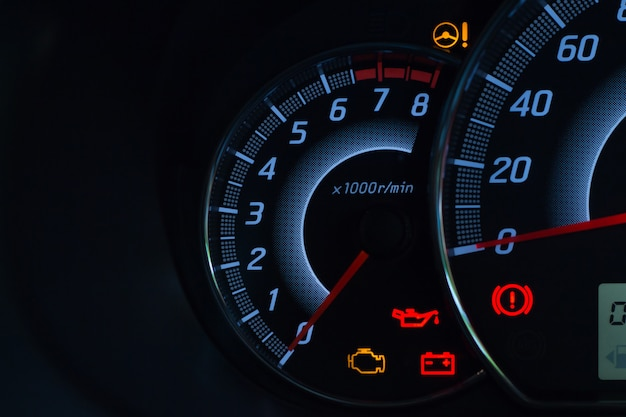 Screen display of car status warning light on dashboard panel symbols