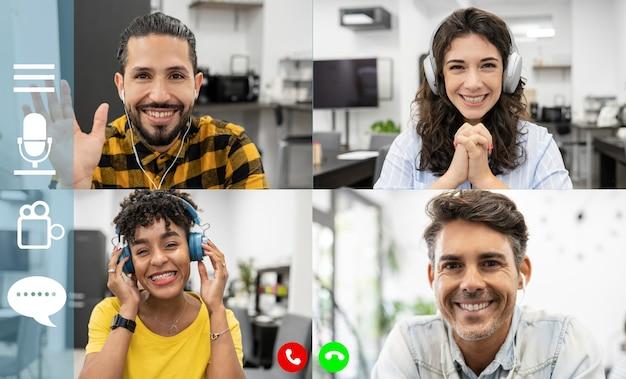 ビデオ通話についてのアイデアを議論する多様なビジネスマンの画面モニター